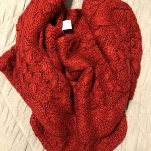 Red BP Chunky Knit Infinity Scarf